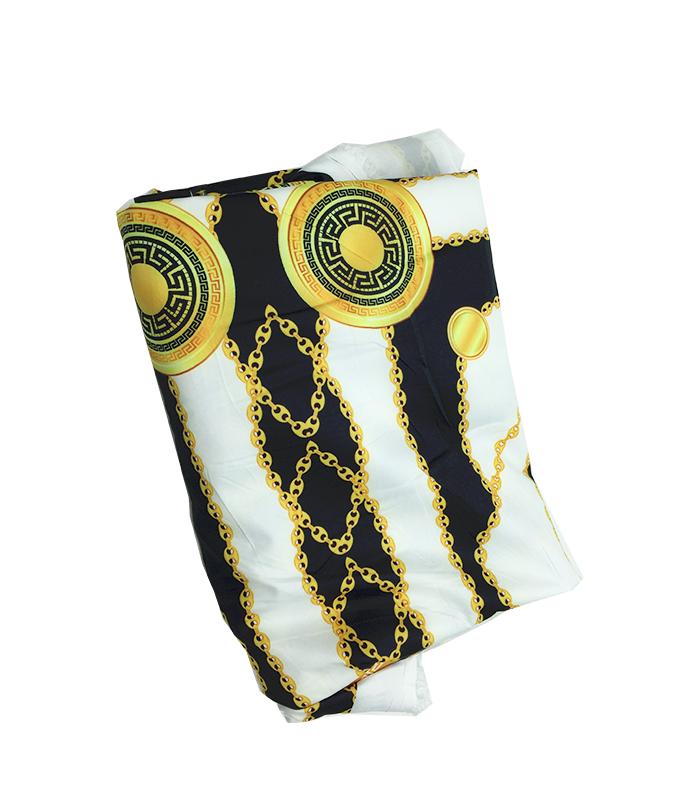 Tissu en soie 2 m blanc noir