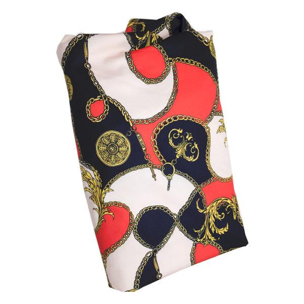 Tissu en soie 2 m noir rouge